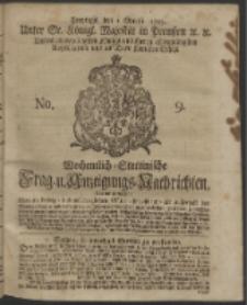 Wochentlich-Stettinische Frag- und Anzeigungs-Nachrichten. 1743 No. 9