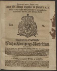 Wochentlich-Stettinische Frag- und Anzeigungs-Nachrichten. 1743 No. 11