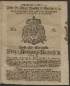 Wochentlich-Stettinische Frag- und Anzeigungs-Nachrichten. 1743 No. 16