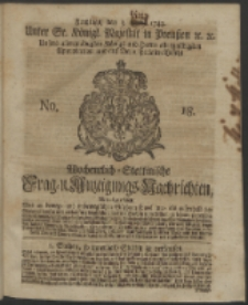Wochentlich-Stettinische Frag- und Anzeigungs-Nachrichten. 1743 No. 18
