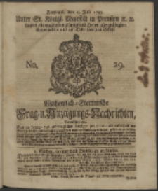 Wochentlich-Stettinische Frag- und Anzeigungs-Nachrichten. 1743 No. 29
