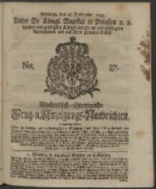 Wochentlich-Stettinische Frag- und Anzeigungs-Nachrichten. 1743 No. 37