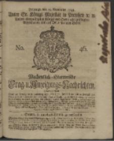 Wochentlich-Stettinische Frag- und Anzeigungs-Nachrichten. 1743 No. 46