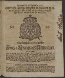 Wochentlich-Stettinische Frag- und Anzeigungs-Nachrichten. 1743 No. 48