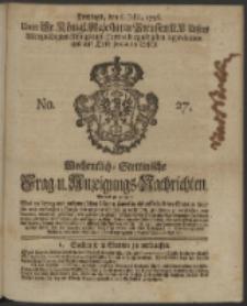Wochentliche Stettinische zur Handlung nützliche Preis-Courante der Waaren und Wechsel-Cours, wie auch Frage- und Anzeigungs-Nachrichten. 1736 No. 27