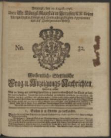 Wochentliche Stettinische zur Handlung nützliche Preis-Courante der Waaren und Wechsel-Cours, wie auch Frage- und Anzeigungs-Nachrichten. 1736 No. 32