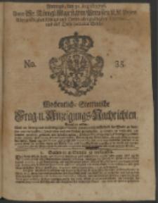 Wochentliche Stettinische zur Handlung nützliche Preis-Courante der Waaren und Wechsel-Cours, wie auch Frage- und Anzeigungs-Nachrichten. 1736 No. 35