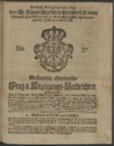Wochentliche Stettinische zur Handlung nützliche Preis-Courante der Waaren und Wechsel-Cours, wie auch Frage- und Anzeigungs-Nachrichten. 1736 No. 37