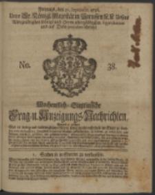 Wochentliche Stettinische zur Handlung nützliche Preis-Courante der Waaren und Wechsel-Cours, wie auch Frage- und Anzeigungs-Nachrichten. 1736 No. 38
