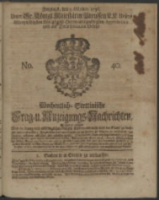 Wochentliche Stettinische zur Handlung nützliche Preis-Courante der Waaren und Wechsel-Cours, wie auch Frage- und Anzeigungs-Nachrichten. 1736 No. 40