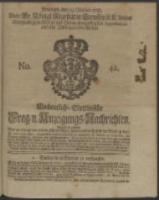 Wochentliche Stettinische zur Handlung nützliche Preis-Courante der Waaren und Wechsel-Cours, wie auch Frage- und Anzeigungs-Nachrichten. 1736 No. 42