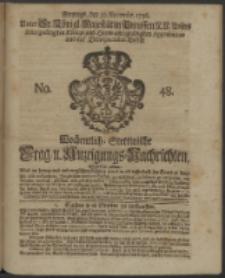 Wochentliche Stettinische zur Handlung nützliche Preis-Courante der Waaren und Wechsel-Cours, wie auch Frage- und Anzeigungs-Nachrichten. 1736 No. 48