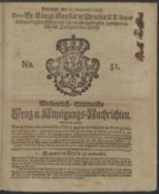 Wochentliche Stettinische zur Handlung nützliche Preis-Courante der Waaren und Wechsel-Cours, wie auch Frage- und Anzeigungs-Nachrichten. 1736 No. 51