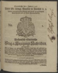 Wochentlich-Stettinische Frag- und Anzeigungs-Nachrichten. 1746 No. 1