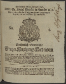Wochentlich-Stettinische Frag- und Anzeigungs-Nachrichten. 1746 No. 4