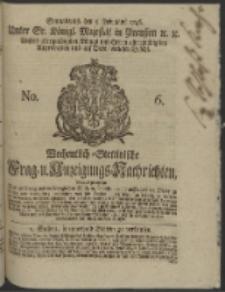 Wochentlich-Stettinische Frag- und Anzeigungs-Nachrichten. 1746 No. 6