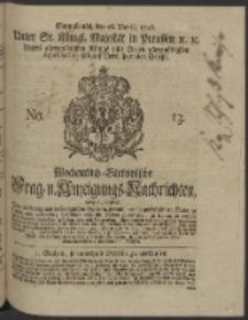 Wochentlich-Stettinische Frag- und Anzeigungs-Nachrichten. 1746 No. 13