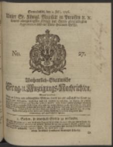Wochentlich-Stettinische Frag- und Anzeigungs-Nachrichten. 1746 No. 27