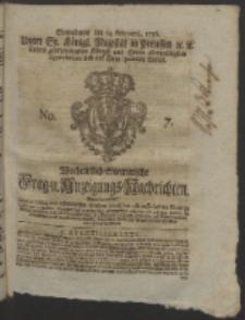 Wochentlich-Stettinische Frag- und Anzeigungs-Nachrichten. 1756 No. 7 + Anhang