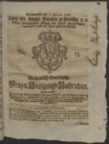 Wochentlich-Stettinische Frag- und Anzeigungs-Nachrichten. 1756 No. 15 + Anhang