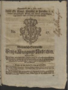 Wochentlich-Stettinische Frag- und Anzeigungs-Nachrichten. 1756 No. 27 + Anhang
