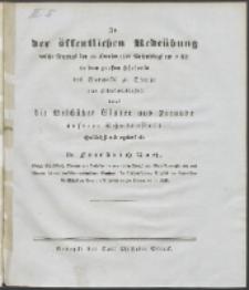 Zu der öffentlichen Redeübung 1827