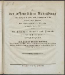 Zu der öffentlichen Redeübung 1830