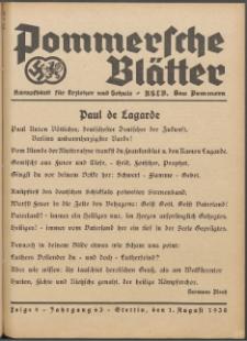 Pommersche Blätter : Kampfblatt für Erzieher und Schule. Jg. 63, 1938 Folge 9