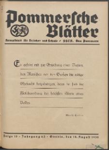 Pommersche Blätter : Kampfblatt für Erzieher und Schule. Jg. 63, 1938 Folge 10