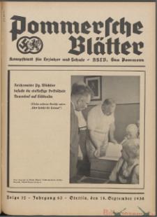Pommersche Blätter : Kampfblatt für Erzieher und Schule. Jg. 63, 1938 Folge 12