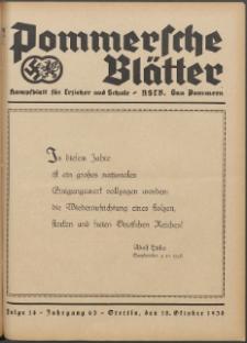 Pommersche Blätter : Kampfblatt für Erzieher und Schule. Jg. 63, 1938 Folge 14