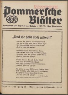 Pommersche Blätter : Kampfblatt für Erzieher und Schule. Jg. 63, 1938 Folge 15