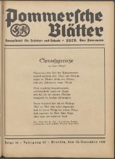 Pommersche Blätter : Kampfblatt für Erzieher und Schule. Jg. 63, 1938 Folge 16