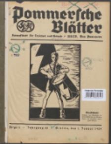 Pommersche Blätter : Kampfblatt für Erzieher und Schule. Jg. 64, 1939 Folge 1