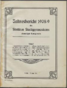 Jahresbericht des Stettiner Stadtgymnasiums, Ehemaligen Rats-Lyceums 1908/9
