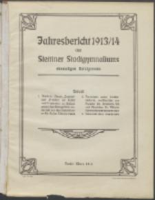 Jahresbericht des Stettiner Stadtgymnasiums, Ehemaligen Rats-Lyceums 1913/14