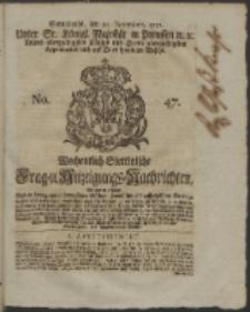 Wochentlich-Stettinische Frag- und Anzeigungs-Nachrichten. 1751 No. 47