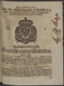 Wochentlich-Stettinische Frag- und Anzeigungs-Nachrichten. 1748 No. 1