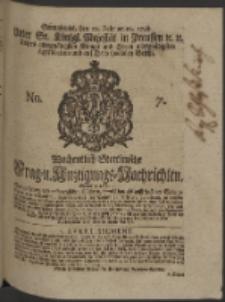 Wochentlich-Stettinische Frag- und Anzeigungs-Nachrichten. 1748 No. 7