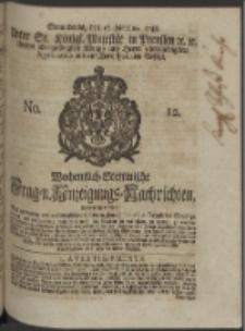 Wochentlich-Stettinische Frag- und Anzeigungs-Nachrichten. 1748 No. 12
