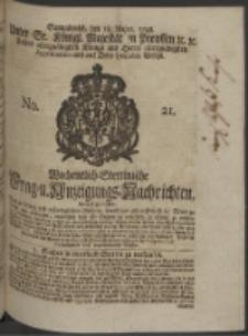 Wochentlich-Stettinische Frag- und Anzeigungs-Nachrichten. 1748 No. 21