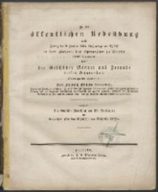 Zu der öffentlichen Redeübung 1835