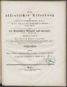 Zu der öffentlichen Redeübung 1838