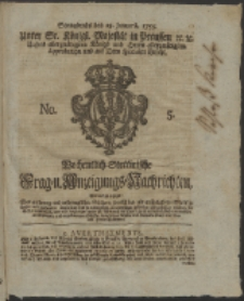 Wochentlich-Stettinische Frag- und Anzeigungs-Nachrichten. 1755 No. 5 + Anhang