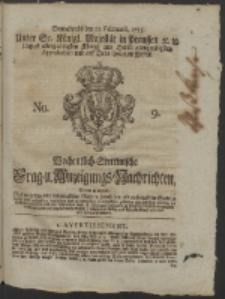 Wochentlich-Stettinische Frag- und Anzeigungs-Nachrichten. 1755 No. 9 + Anhang
