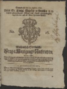 Wochentlich-Stettinische Frag- und Anzeigungs-Nachrichten. 1755 No. 16 + Anhang