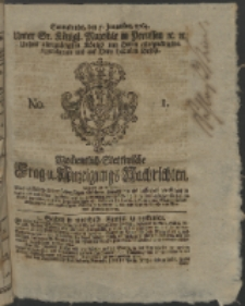 Wochentlich-Stettinische Frag- und Anzeigungs-Nachrichten. 1764 No. 1 + Anhang