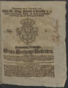 Wochentlich-Stettinische Frag- und Anzeigungs-Nachrichten. 1764 No. 5 + Anhang