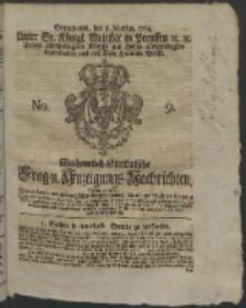 Wochentlich-Stettinische Frag- und Anzeigungs-Nachrichten. 1764 No. 9 + Anhang