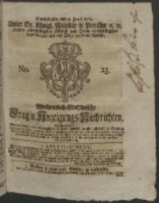 Wochentlich-Stettinische Frag- und Anzeigungs-Nachrichten. 1764 No. 23 + Anhang